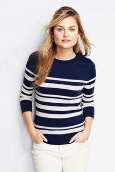 ee3d46838d3 Women s Stripe Fine Gauge Supima Open Crewneck Sweater from Lands  End.  Taylor Condon · Fall Fashion
