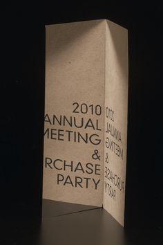 invitation / SMA Meeting & Party 2010 by Tristan Telander, via Behance
