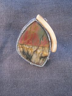 Reef Anchorage My favorite-tucked in safe and calm with the whole ocean to view. Cherry Creek Jasper Mammoth Ivory Sterling Silver Adjustable Ring.  PRICE $395