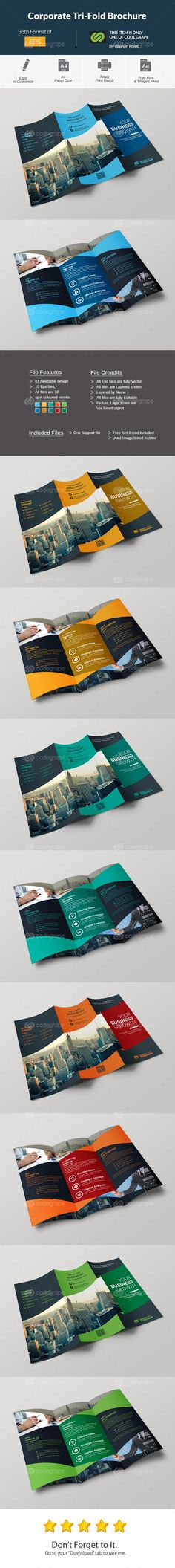 Corporate Tri-Fold Brochure on @codegrape. More Info: https://www.codegrape.com/item/corporate-tri-fold-brochure/10829