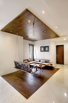 Nitya Bungalow – a+t associates House Ceiling Design, Ceiling Design Living Room, Home Room Design, Home Interior Design, Interior Decorating, House Design, Indian Home Design, Indian Home Interior, Indian Home Decor