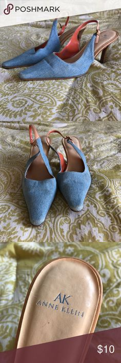 Vintage Denim Anne Klein kitten heels Vintage denim Anne Klein kitten heels! Amazing vintage find! Used them once for a photo shoot, but looks like they've been loved before ❤️ so cool and retro looking. A couple scratched spots on the back. Anne Klein Shoes Heels