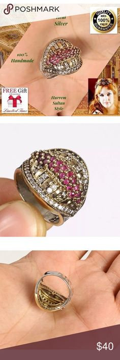 """%100 HANDMADE 925 Silver RUBY TOPAZ ring size 8 925K STERLING REAL SILVER RING TURKISH HANDMADE Best Price! + FREE GIFT! DESCRIPTION: Size: 8 Metal: 925 Sterling Silver/Brass  Stone: Topaz,RUBY  Head Size: 0.67"""" Weight: 7,24 grams Made From Turkey Handmade High QualityWorkmanship The Photos in Our Auctions Are Of The Actual You Receive (MUCH BETTER THAN PICTURES) All our products are individually 925 for silver purity.  All items sold are brand new. Package Include: 1pc Ring + Limited time…"""