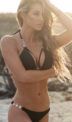 Black bikini with crystals and stones. Rose gold and beautiful