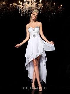 A-Line/Princess Sweetheart Sleeveless Asymmetrical Beading Chiffon Cocktail Dresses
