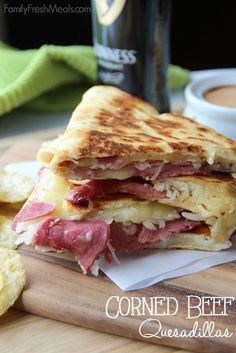 Corned Beef and Cabbage Quesadillas is a new twist on how to use up left over corned beef.