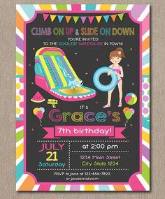 Water Slide Birthday Invitation Water slide by PixeleenDesigns