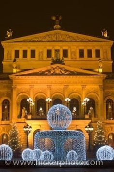 Photo: Old Opera House Alte Oper Frankfurt Hessen Germany The Old Opera House in Frankfurt, also known as the Alte Oper Frankfurt is lit up at dusk with its fountain in front in downtown Frankfurt, Hessen, Germany. This historical building is very central in the town and is well worth a visit.