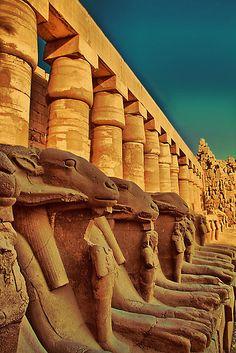 Egypt. Luxor. Karnak Temple. Ram-Headed Sphinxes.
