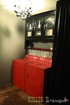 I have a top of a hutch and defiantly doing this asap :) :) Repurposed Top Hutch for Laundry Cabinets!