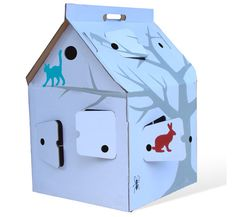 I love this idea! Kidsonroof's Casa Cabana is just one design in a line of recycled cardboard dollhouses.