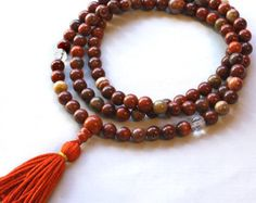 Picture Jasper Mala Tassel Necklace with Brass by compassionmalas