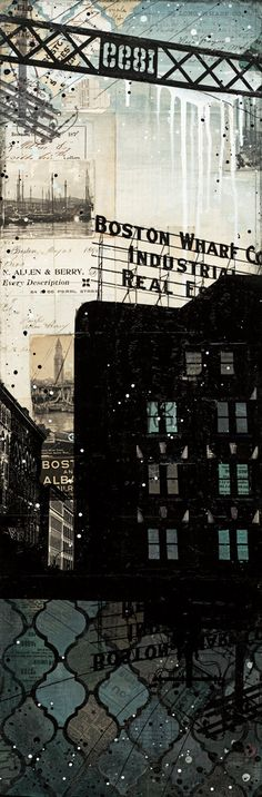 Raining Over Summer Street Bridge - paper print of Boston mixed media collage