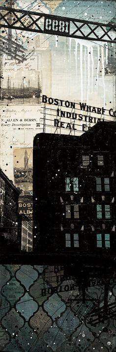 Raining Over Summer Street Bridge - paper print of Boston mixed media collage