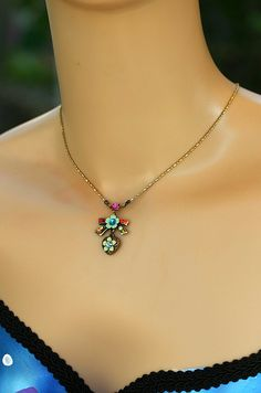 Orly Zeelon Bow & Heart Pendant Necklace  Crystal by OrlyZeelon