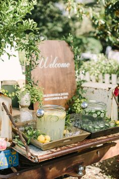 Lemonade + cucumber water: http://www.stylemepretty.com/california-weddings/glen-ellen/2016/01/07/glamorous-ranch-wedding-2/ | Photography: The Edges - http://theedgeswed.com/