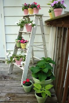 spring garden - painted pots. Also like the step ladder to put small pots on.