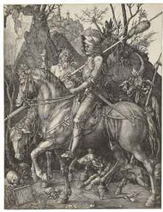 Albrecht Dürer  Knight, Death and the Devil  Engraving, 1513,   P. 9 5/8 x 7 7/16 in. (245 x 189 mm.)  S. 9¾ in. x 7½ in. (247 x 190 mm.)