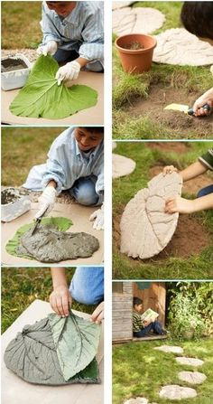 The Best Backyard DIY Projects For Your Outdoor Playground Garden paths, . - The Best Backyard DIY Projects For Your Outdoor Playground Garden paths, Diy garden decor, Cement g - Backyard Projects, Garden Projects, Diy Projects, Garden Ideas, Patio Ideas, Garden Crafts, Diy Garden Decor, Leaf Stepping Stones, Small Backyard Design