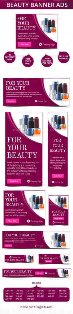 Beauty Banner Ads Template PSD | Buy and Download: http://graphicriver.net/item/beauty-banner-ads/9932525?ref=ksioks