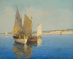 """Colin Campbell Cooper (California 1856-1937) """"Sailboats Off the Shore,"""" Framed oil on canvas. 16 x 20 inches, Sold for $5,557 #fineart #michaans http://www.michaans.com/events/2009/auct_06122009.php"""