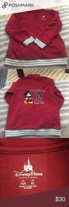 Mickey Mouse half zip hoodie Red Mickey Mouse half zip hoodie. It's a youth boys XL. I  wear a women's small and it fits perfect. Only worn a few times. Disney Sweaters