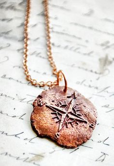 Compass Rose Pendant Antique Wax Seal Necklace with by PiecesOfII, $45.00, silver $95. Ain't nobody got money for that! But it's so cool!