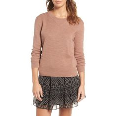 Women's Madewell Crewneck Sweater ($75) ❤ liked on Polyvore featuring tops, sweaters, warm ash, marled sweater, knit top, marled knit sweater, cropped knit sweater and knit crew neck sweater