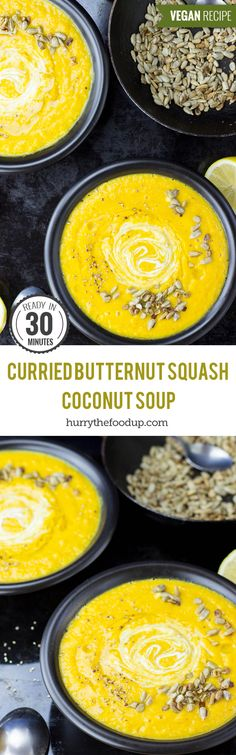 Easy Curried Butternut Squash and Coconut Soup (30 Mins, Vegan) #soup #pumpkin | hurrythefoodup.com