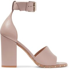 Valentino Valentino - Rockstud Leather Sandals - Blush (€715) ❤ liked on Polyvore featuring shoes and sandals