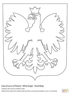 Coat of Arms of Poland coloring page from Poland category. Select from 31983 printable crafts of cartoons, nature, animals, Bible and many more. Flag Coloring Pages, Free Printable Coloring Pages, Daisy Scouts, Girl Scouts, Polish Symbols, Poland Culture, World Thinking Day, Stencil Patterns, Family Crafts
