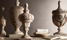 The big design news this month is that Restoration Hardware (now named RH) is once more reinventing itself—with a dramatic new Boston galler. Landscaping With Fountains, Wooden Containers, Living Room Decor Cozy, Antique Collectors, Big Design, Design Ideas, French Interior, Sculpture, Neoclassical