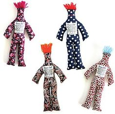 Dammit Doll:  For those days when nothing goes right and you just want to hit the wall, take solace in a Dammit Doll - a friend you can slam, whack, pull and squeeze while yelling your favorite obscenities. Sold individually - style will vary by order.