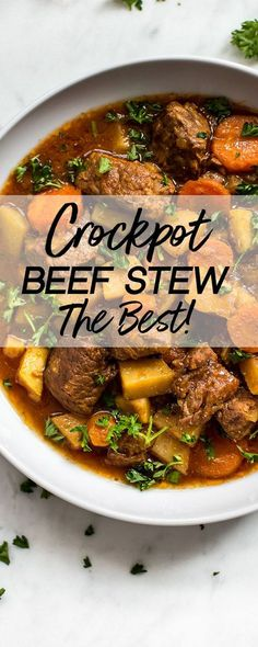 This Crockpot beef stew recipe is simple, hearty, healthy, and totally delicious. It's a comforting classic slow cooker recipe that the whole family will love. The best Crockpot meat stew! #beefstew #stew #crockpot #slowcooker #crockpotrecipe