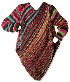 Colourful striped Asars Ponchette - only one seam - Berroco® FREE knitting Pattern Hand Knitting Yarn, Knitting Patterns Free, Knit Patterns, Free Knitting, Free Pattern, Knitted Poncho, Knitted Shawls, Knit Or Crochet, Crochet Shawl