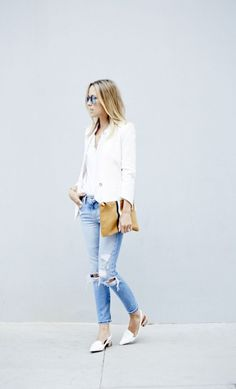 I love the blouse with the jacket paired with the jeans. It's stylish yet casual. I don't like ripped jeans though.