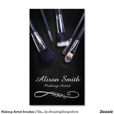 Makeup Artist brushes/Cosmetic Brushes Double-Sided Standard Business Cards (Pack Of 100)