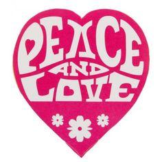 50 Stickers Hippie Coeur fuschia Peace and Love