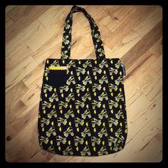 Roller Derby Lightning Bolt Tote : NWOT Never used. Purchased and it just sat in my closet. Yellow & Silver skates on black canvas. Front pocket & a zipper pocket on inside. Any Q's? Just ask, I'll respond quickly. I'm online daily. I'm clearing out stuff to make room, your gain! All my items come from a teacup chihuahua's smoke-free, very clean home. Thanks for checking me out! Sourpuss Bags Totes
