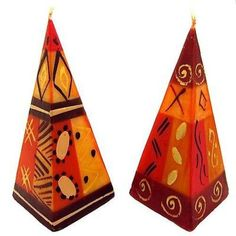 Global Crafts Set of Two Hand-Painted Pyramid Candles - Bongazi Design - Nobunto Candles Living Room Candles, Romantic Candles, Decor Crafts, Candle Holders, Hand Painted, Handmade, Painting, Design, Fair Trade