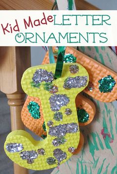 Easy letter ornaments from recycled foam puzzles and a great way to persona Letter Ornaments, Easy Christmas Ornaments, Christmas Arts And Crafts, Simple Christmas, Christmas Themes, Holiday Crafts, Holiday Fun, Christmas Projects, Christmas Activities For Toddlers