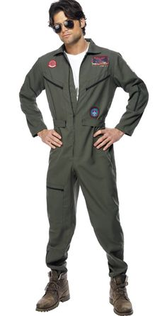 Buy Adult Top Gun Pilot Costume, available for Next Day Delivery. Our Adult Official Men's Top Gun Pilot Costume comes complete with the All in One Khaki Green Jumpsuit with Name Badges and Aviator Glasses. Top Gun Kostüm, Top Gun Film, Top Gun Movie, Top Gun Fancy Dress, 1980s Fancy Dress, Movie Costumes, Adult Costumes, Pilot Costumes, Fly Dressing