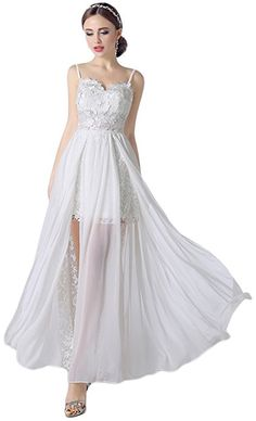 52c1520126fc Albrose Chiffon and Lace Long Beach Bridal Wedding Dresses Gown at Amazon  Women's Clothing store: