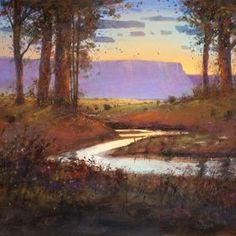 Tom Perkinson Early Work   ... Stream in Autumn - New Mexico Landscape Art Painting by Tom Perkinson