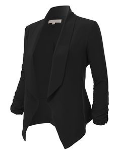 huge selection of f8849 010ac LE3NO Womens Lightweight Ruched 3 4 Sleeve Open Front Blazer Jacket  Business Attire, Blazers