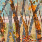 "Wilderness  25""L X 58""W  Artist-dyed cotton and silk fabrics  Fabric collage with machine stitching"