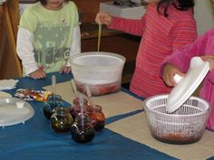 use salad spinners to mix colors or teach radial design