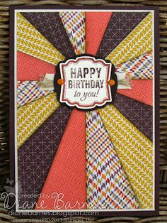 Sunburst birthday card for guys (& instructions) using stampin Up Label Love stamps & Sweater Weather DSP by Di Barnes colour me happy #stampinup