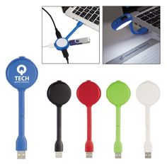 This 4 port USB hub with book light   USB hub comes with four high speed USB ports allowing you to connect to multiple power sources at once   It also includes an extra bright white LED light to assist with reading   Great for trade show   Tech promotions   Technology   Reading Light   Promotional Product   Callard   Office   Schools   Giveaways   Company logo   Customize