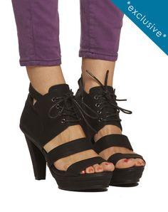 Sammy Strappy Laceup Platform Sandal - Black - was $165